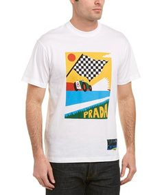 Prada Printed Cotton-jersey T-shirt - White Prada Men, Printed Cotton, Ready To Wear, Short Sleeves, Mens Fashion, Fabric, Prints, Mens Tops, T Shirt