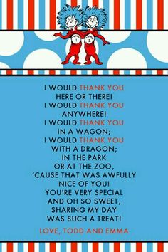 Printable in Documents as Dr. Seuss-Thank you and Dr. Seuss-Thank you 2 Dr Seuss Party Ideas, Dr Seuss Birthday Party, First Birthday Parties, Dr. Seuss, 2nd Baby Showers, Baby Shower Themes, Dr Seuss Baby Shower Ideas, Twin First Birthday, Baby Birthday