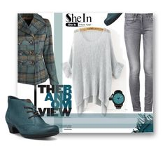"""""""SheIn-Grey Sweater"""" by samketina ❤ liked on Polyvore featuring St. John, GUESS, Dollhouse and Cobb Hill"""