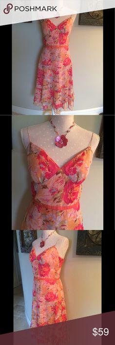 Muse Orange & Pink Floral Dress Size 6 Muse Orange & Pink Floral Dress Size 6 EUC Muse Dresses