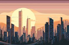 Buy Sunrise Landscape in City by evanat on GraphicRiver. Sunrise landscape in city with tall skyscrapers. Sunrise Landscape, City Landscape, Building Illustration, City Illustration, Landscape Drawings, Landscape Paintings, Sunrise City, City Drawing, City Vector