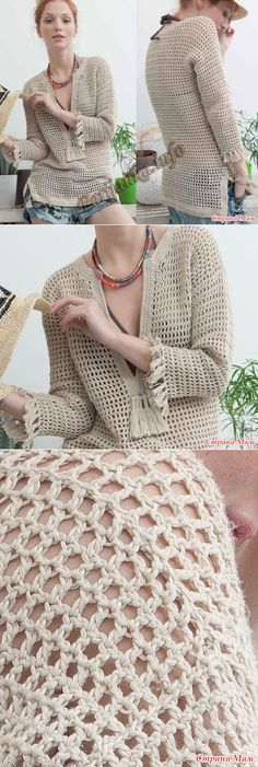 Simple filet crochet stitch for tunic, with nice fringe/tassel detail stranamam.ru