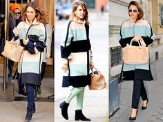 Jessica Alba: The Queen of Recycling Clothing | CHLOÉ COAT  | It's not just the designer pastel striped topper that landed her in this gallery. If you look closely, you'll notice she's toting a bag from the same brand in every photo, too. We should all be so lucky as to get some Chloé on Chloé action someday.