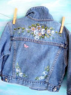 Denim Jacket, Upscaled, Toddler, Painted, One to Two years, Altered, by mailordervintage on etsy