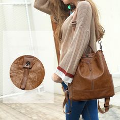 Women Solid Travel Leisure Soft Leather Multi-function Backpack Large Capacity Shoulder Bag shows femininity. Shop on NewChic and buy yourself the best women backpack. Backpack Bags, Leather Backpack, Shoulder Backpack, Shoulder Bags, Fashion Bags, Fashion Shoes, Bag Sale, Cross Body Handbags, Bag Storage