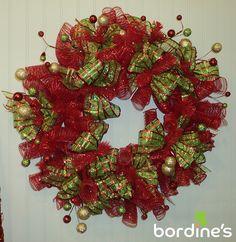 Mesh ribbon wreath. Visit us at www.bordines.com