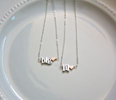 Big Sis Lil Sis Sorority Necklace - Chunky Petite Letters, Sorority Jewelry Initiation Gift Bid Day Gift Sorority Christmas Gift