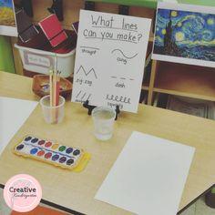 46 Ideas Line Art For Kids Kindergarten For 2019 Preschool Centers, Preschool Writing, Kindergarten Art, Preschool Classroom, Preschool Art, Art Classroom, Reggio Emilia Classroom, Reggio Inspired Classrooms, Reggio Emilia Preschool