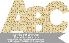 letra a letra del abecedario en tamaño folio letras decorativas en beige con topos dorados, ideales para decorar fiestas