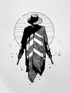 Gunslinger, pen and ink, : Art Tatoo Art, Tattoo Drawings, Art Drawings, Skeleton Drawings, Card Tattoo, Fantasy Kunst, Fantasy Art, Cowboy Tattoos, Western Tattoos