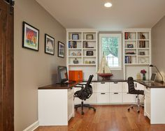 Comfy Home Office Design For Two People Ideas : Interesting Ideas For Two Person Office Workspaces Design With Black Computer Chairs And Woo...
