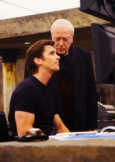"""I love this picture because it shows each one of their characters so well: Alfred telling Batman wise things and Bruce is like """"Yeah, I'm just gonna do what I want."""" haha <3 Love them! #ChristianBale #MichaelCaine"""