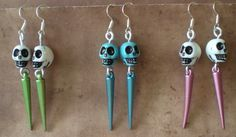 Sugar Skull Day of the Dead Spike and Skull Earrings Skull Jewelry Gothic Jewelry