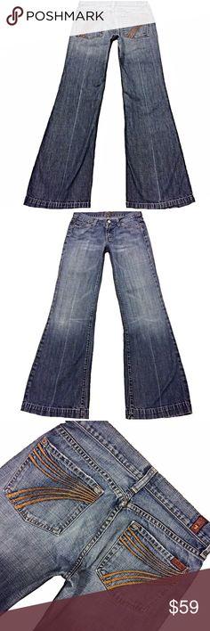 "7 For All Mankind ""Dojo"" Flare SZ 27 Orange 7 A Super Cute Pair Of 7 For All Mankind ""Dojo"" Women's SZ 27 Flare Leg Med Distressed Wash Low-Rise Orange Stitched 7 100% Cotton Jeans. Wear on hem Style# U1158019U-019U Cut# 705324 Measurements: Waist: 28.5"" Hips: 39"" Front rise: 7.5"" Back rise: 13"" Inseam: 32"" 7 For All Mankind Jeans Flare & Wide Leg"