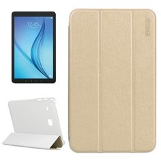 [USD4.79] [EUR4.35] [GBP3.43] ENKAY Silk Texture PU Horizontal Flip PU Leather Case with Translucent Frosted Plastic Back Shell & Three-folding Holder for Samsung Galaxy Tab E 8.0 / T377 / T375(Gold)