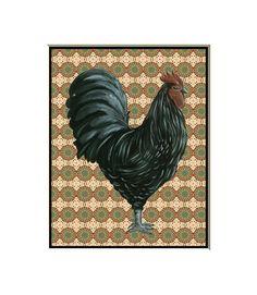 Impresión del gallo gallo negro en baldosa por HamiltonArtandDesign