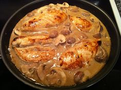Pan-Seared Chicken with Balsamic Cream Sauce, Mushrooms and Onions