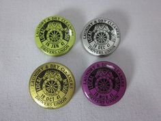 1941 1942 Laundry And Dry Cleaners Drivers Union Pinback Button Pins