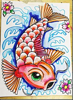 Great Marker and Water Koi with Step by Step Drawing Guide  http://elementaryartfun.blogspot.com/2012/05/koi-fish.html
