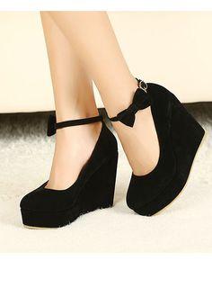 love Hot Sale Black  Wedge Heels with Bowtie