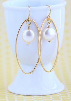 Oval Hoop Earrings Gold Oval Dangle