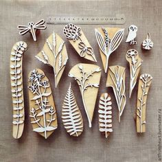 """A set of stamps for printing on fabric """"GRASS - order at the Fair of Masters - Stamp Printing, Screen Printing, Printing On Fabric, Clay Stamps, Homemade Stamps, Eraser Stamp, Diy And Crafts, Paper Crafts, Stamp Carving"""