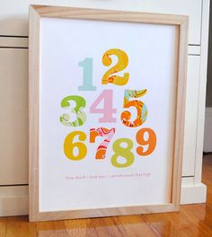 Patterned numbers print for baby girl nursery by AlmostSundayInc