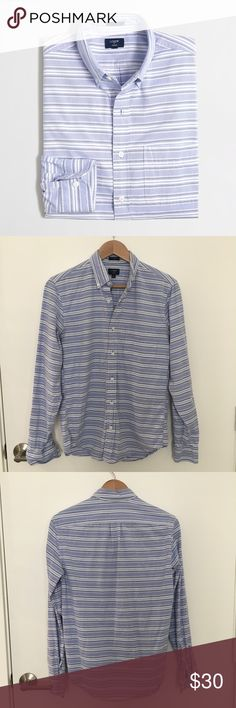 J. Crew Slim Sunwashed Oxford Shirt in Multistripe Excellent condition. PRODUCT DETAILS: Cotton. Slim fit, cut more narrowly through the body and sleeves. Button-down collar. Machine wash. Import. J. Crew Shirts Casual Button Down Shirts