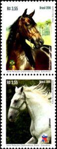 Sello: Horses (Brasil) (Horses: Relations Brazil - Slovenia) Mi:BR 4383-4384