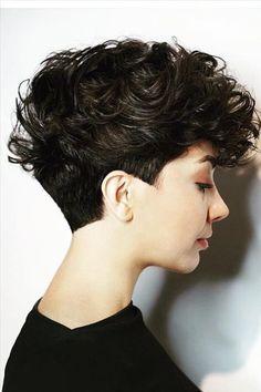 Curly Hair Model, Dry Curly Hair, Curly Hair Cuts, Short Hair Cuts, Curly Hair Styles, Hair Designs For Girls, Curly Hair Designs, Curly Pixie Hairstyles, Short Hair Undercut
