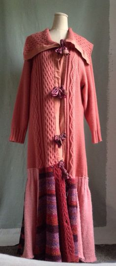 Up cycled OOAK woodland mori pieced sweater coat size L on Etsy, $125.00