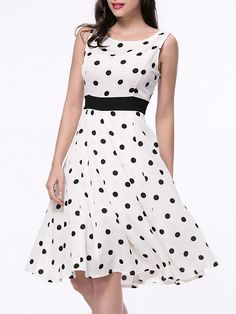 Basic Dresses - Classic Polka Dot Sleeveless Round Neck Skater Dress Source by julienacessed - Elegant Dresses, Casual Dresses, Summer Dresses, Ladies Dresses, Cheap Skater Dresses, Skater Dress Outfits, Dress Silhouette, Classic Style Women, Madame
