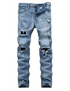 4bc72ccc DSDZ Fashion Mens Stretch Ripped Hole Skinny Blue Jeans With Side Zippers  Review Ripped Jeans Mens