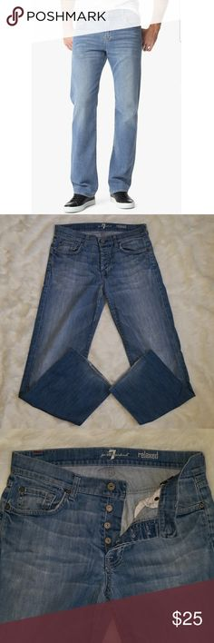 "7 FOR ALL MANKIND RELAXED JEANS 7 FOR ALL MANKIND Men's relaxed jeans sz 30, inseam is 29"". Jeans worn worn a handful of times, show some where on rear and bottom of jeans but still have plenty of life still left in them!! Jeans are a medium wash denim, 4 button up style closure, soft and comfortable material! 7 For All Mankind Jeans Relaxed"