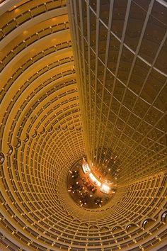 The Atrium of the 52-storey Grand Hyatt Hotel in Shanghai - China