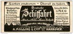 Original-Werbung/Inserat/ Anzeige 1902 - BUCHWERBUNG: DEUTSCHE SCHIFFAHRT ca. 80 x 45 mm