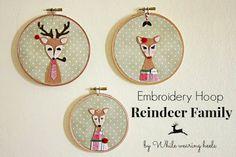 While Wearing Heels: Embroidery Hoop Reindeer Family