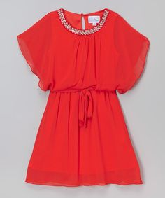 Love this Cinderella Couture Tomato Red-Cape Sleeve Dress - Girls by Cinderella Couture on #zulily! #zulilyfinds