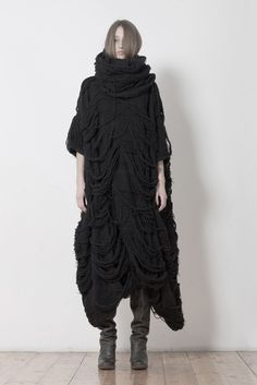 | Uma Wang |  fall winter 2012 fab knitted freeform couture fashion textural cloak dress....raven