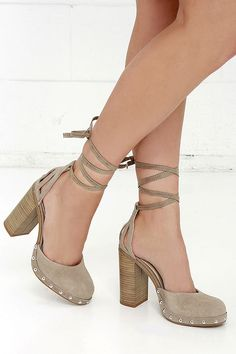 ac84850fcef Seychelles Drift Taupe Suede Leather Lace-up Heels