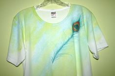 Hand Painted Peacock Feather Womens shirt - Sm-XL. $32.00, via Etsy.