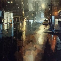 "James Kroner Past Midnight (large version re-edit) 38""x38"" oil"