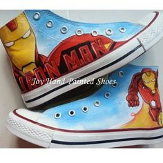 Iron Man Hand Painted Shoes High Top Canvas Shoes Custom Shoes