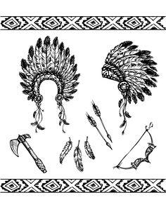Les symboles des Indiens : la coiffe à plumes, la hache, l'archer et les flèches ...A partir de la galerie : Indiens D AmeriqueArtiste : Naum100, Source :  123rf