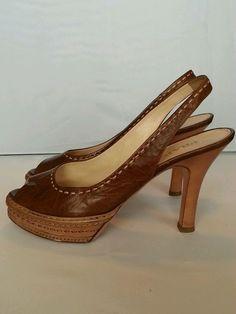 Prada Brown Leather Slingbacks Peeptoe Heels Size 37 1/2 Designer Shoes Pumps  #PRADA #HeelsShoes