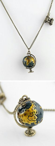 Wanderlust // World globe necklace... love this! #jewelry_design