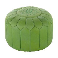 Puf marroqu� de cuero verde MARRAKECH