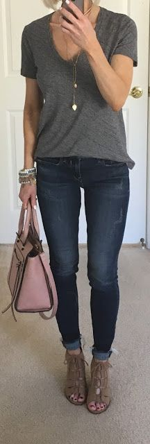 Grey V Neck Tee, Frayed Hem Jeans | On the Daily EXPRESS
