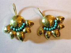 Gold Earrings Hammered Earrings Goldplated Brass by rioritajewelry