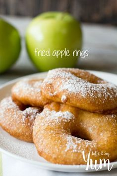 Thinly sliced apples that are dredged in a batter and then fried til golden brown